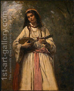 Gypsy Girl with Mandolin by Jean-Baptiste-Camille Corot - Reproduction Oil Painting