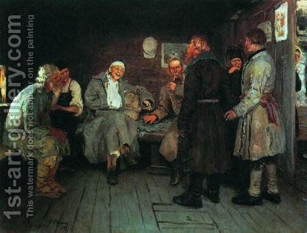 Returning from the war by Ilya Efimovich Efimovich Repin - Reproduction Oil Painting