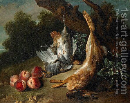 Still Life with Dead Game and Peaches in a Landscape by Jean-Baptiste Oudry - Reproduction Oil Painting