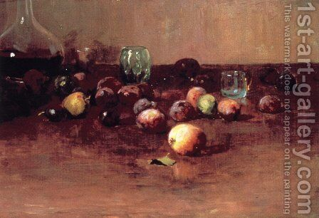 Plums, Waterglass and Peaches by Guy Rose - Reproduction Oil Painting