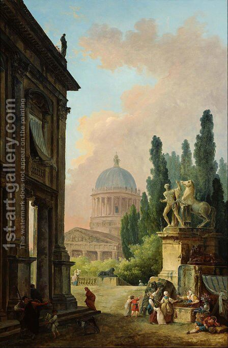 Imaginary View of Rome with the Horse-Tamer of the Monte Cavallo and a Church by Hubert Robert - Reproduction Oil Painting