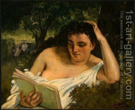 A Young Woman Reading by Gustave Courbet - Reproduction Oil Painting