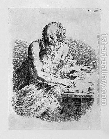 St. Jerome in the act of writing, by Guercino by Giovanni Battista Piranesi - Reproduction Oil Painting