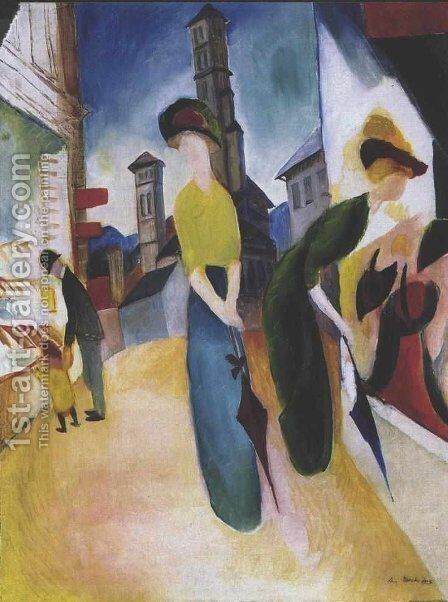 Two women in front of a hat shop by August Macke - Reproduction Oil Painting
