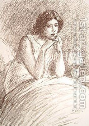 Girl in a big bed by Theophile Alexandre Steinlen - Reproduction Oil Painting