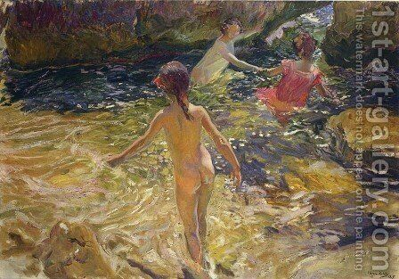 The bath, Javea by Joaquin Sorolla y Bastida - Reproduction Oil Painting