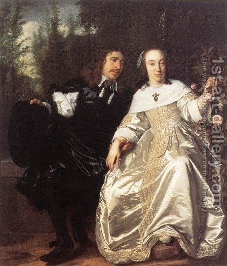 Abraham Del Court And Maria De Keersegieter by Bartholomeus Van Der Helst - Reproduction Oil Painting
