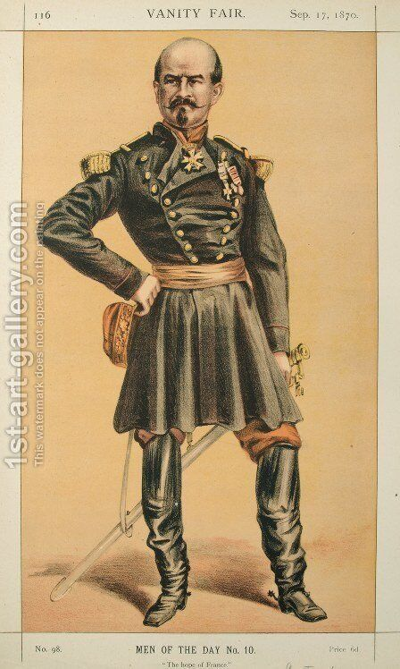 Men of the Day No.100 Caricature of Gen Louis Jules Trochu, Caption reads by James Jacques Joseph Tissot - Reproduction Oil Painting