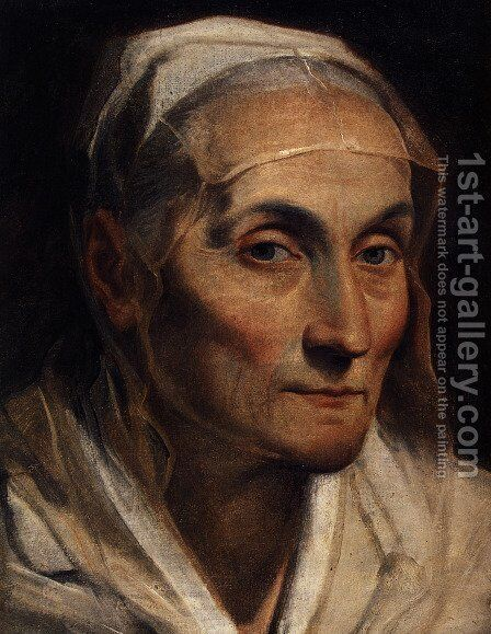 Portrait of old woman by Guido Reni - Reproduction Oil Painting