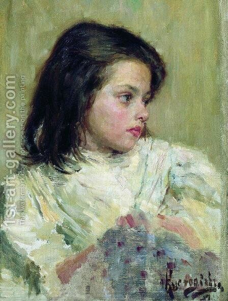 A Girl. Sketch by Boris Kustodiev - Reproduction Oil Painting