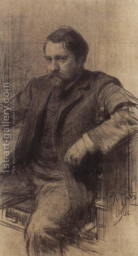 Portrait of the Artist Valentin Serov by Ilya Efimovich Efimovich Repin - Reproduction Oil Painting