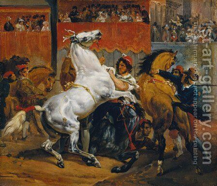 The Start of the Race of the Riderless Horses by Horace Vernet - Reproduction Oil Painting