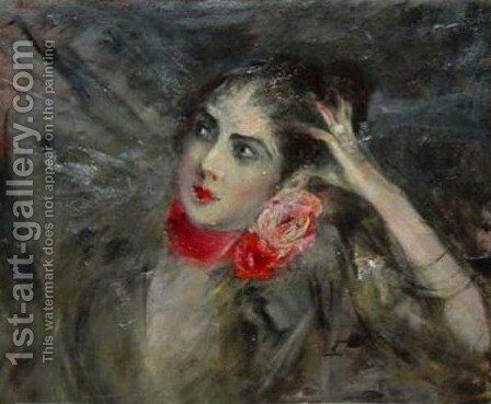 Princes Radziwill with Red Rbbon by Giovanni Boldini - Reproduction Oil Painting