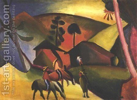Native Aericans on horses by August Macke - Reproduction Oil Painting