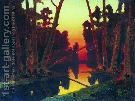 Sunset in the forest 3 by Arkhip Ivanovich Kuindzhi - Reproduction Oil Painting