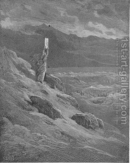 The beseech That Moses might report to them his will And terror cease by Gustave Dore - Reproduction Oil Painting