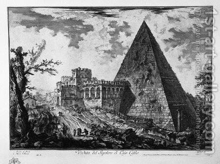 View of the Tomb of Caius Cestius by Giovanni Battista Piranesi - Reproduction Oil Painting