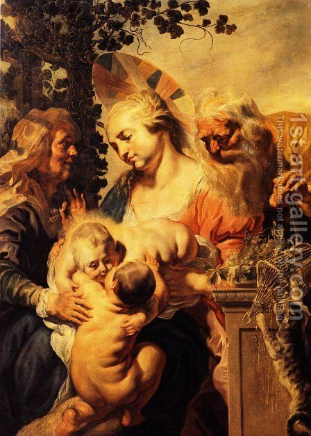 Holy Family with Elizabeth and Child John the Baptist by Jacob Jordaens - Reproduction Oil Painting
