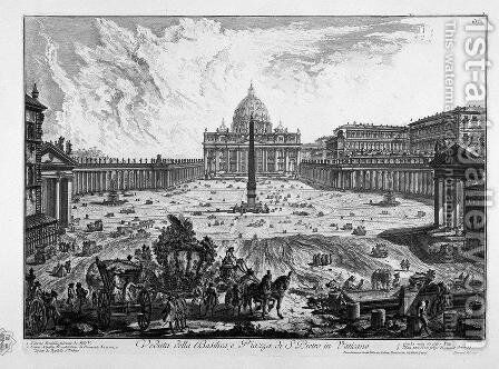 Porch View of the insignia Vatican Basilica and Piazza adjacent coll'ampio by Giovanni Battista Piranesi - Reproduction Oil Painting