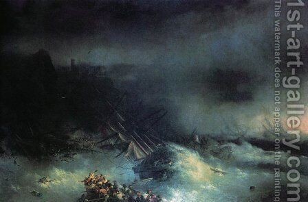 Tempest. Shipwreck of the foreign ship by Ivan Konstantinovich Aivazovsky - Reproduction Oil Painting