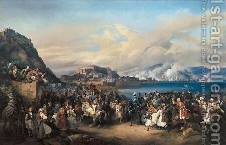 The Entry of King Othon of Greece into Nauplia 1835 by Heinrich Maria Von Hess - Reproduction Oil Painting