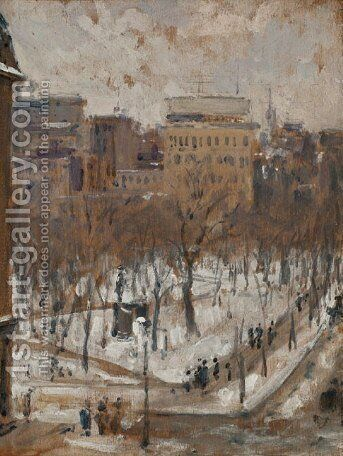 Square in Paris, Snowy Weather by Gustave Caillebotte - Reproduction Oil Painting