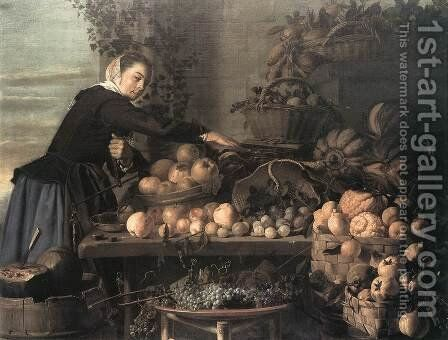 Fruit and Vegetable Seller 1630 by Claes Van Heussen - Reproduction Oil Painting