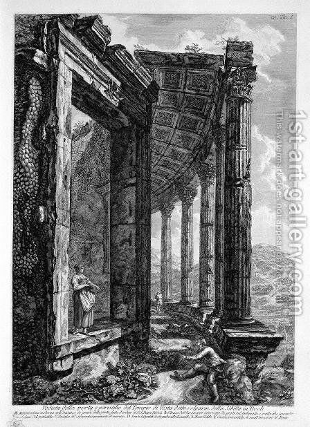 View of the Peristyle and the Door of the Temple of Vesta at Tivoli commonly called the Sybil by Giovanni Battista Piranesi - Reproduction Oil Painting