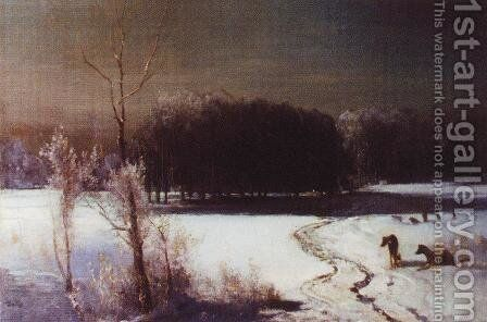 Landscape with wolves by Alexei Kondratyevich Savrasov - Reproduction Oil Painting