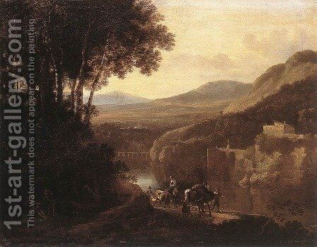 River Scene c. 1660 by Jan Hackaert - Reproduction Oil Painting