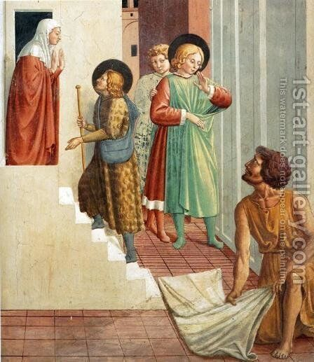 Birth of St. Francis, Prophecy of the Birth by a Pilgrim, Homage of the Simple Man (detail) by Benozzo di Lese di Sandro Gozzoli - Reproduction Oil Painting