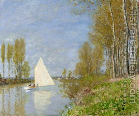 Small Boat on the Small Branch of the Seine at Argenteuil by Claude Oscar Monet - Reproduction Oil Painting