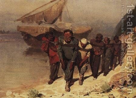 Barge Haulers on the Volga 3 by Ilya Efimovich Efimovich Repin - Reproduction Oil Painting