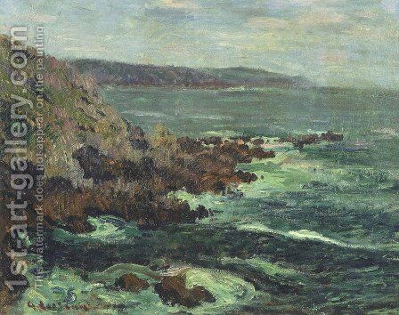 Rock Cliffs by the Sea in Britain by Gustave Loiseau - Reproduction Oil Painting