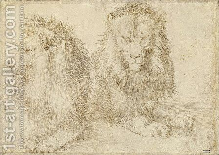 Two seated lions by Albrecht Durer - Reproduction Oil Painting
