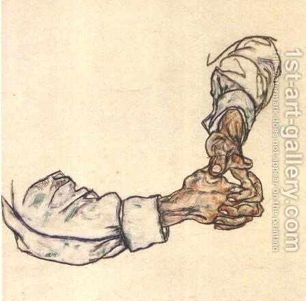 Study of hands by Egon Schiele - Reproduction Oil Painting