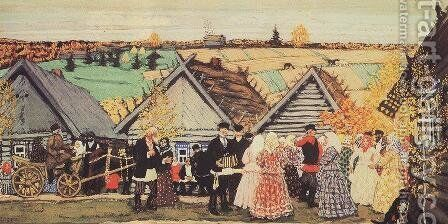Holiday in the countryside 2 by Boris Kustodiev - Reproduction Oil Painting