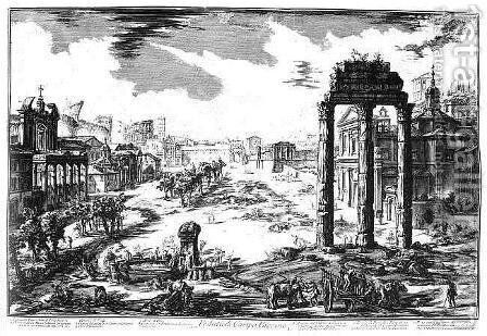 Temple of Castor and Pollux by Giovanni Battista Piranesi - Reproduction Oil Painting