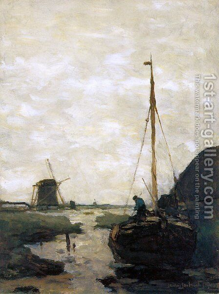 Ship in polder canal by Jan Hendrik Weissenbruch - Reproduction Oil Painting