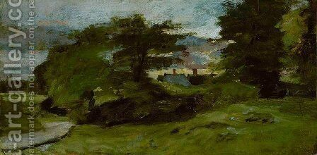 Landscape with Cottages by John Constable - Reproduction Oil Painting
