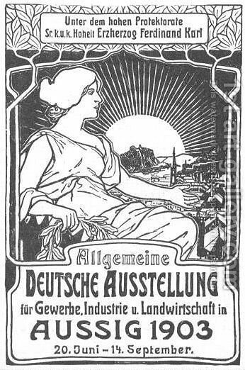 General German poster exhibition for trade, industry and agriculture by Alphonse Maria Mucha - Reproduction Oil Painting