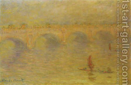 Waterloo Bridge, Sunlight Effect 2 by Claude Oscar Monet - Reproduction Oil Painting