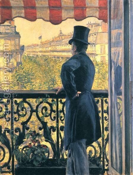 Man on a Balcony, Boulevard Haussmann by Gustave Caillebotte - Reproduction Oil Painting