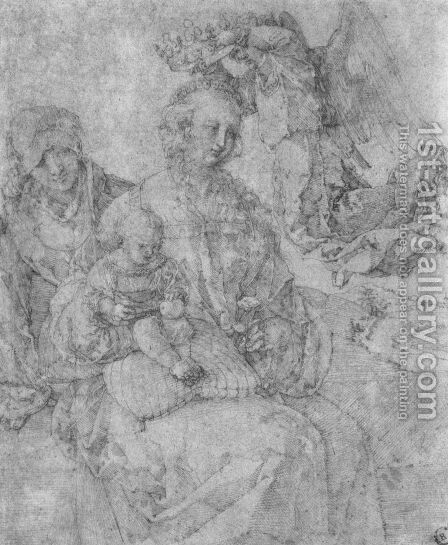Mary and Child, crowned by an angel and St. Anna by Albrecht Durer - Reproduction Oil Painting