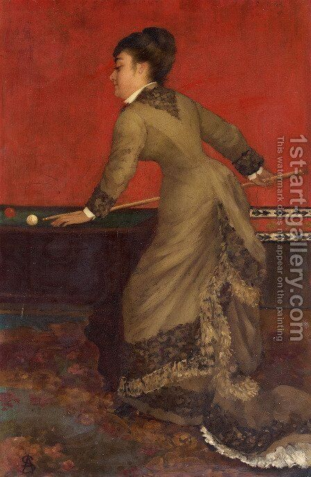 Elegant at Billiards by Alfred Stevens - Reproduction Oil Painting