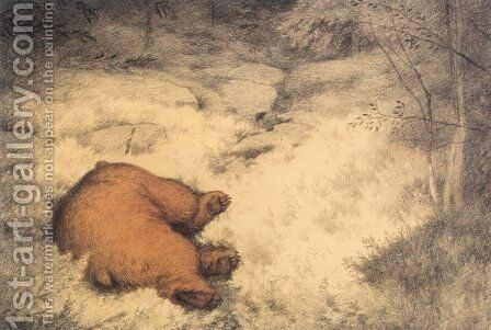 Bruin asleep in the Blueberry Bushes by Theodor Kittelsen - Reproduction Oil Painting