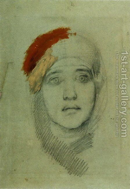Woman's Head (Emily L. Prahova) by Mikhail Aleksandrovich Vrubel - Reproduction Oil Painting