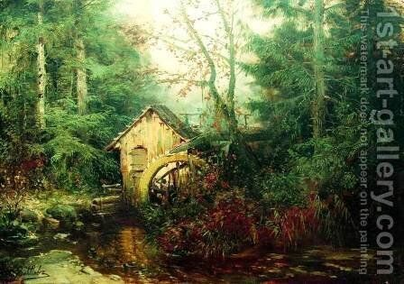 Forest Landscape with Watermill by Efim Efimovich Volkov - Reproduction Oil Painting