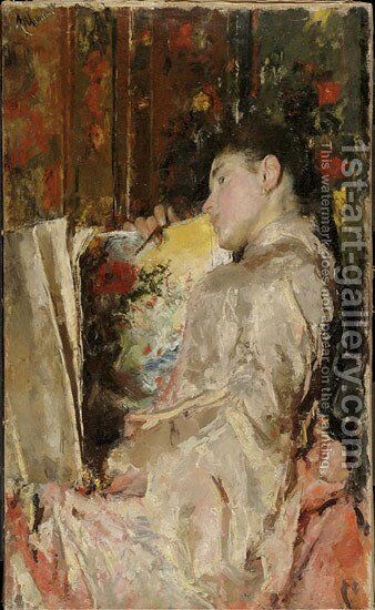 Woman with an Album by Antonio Mancini - Reproduction Oil Painting