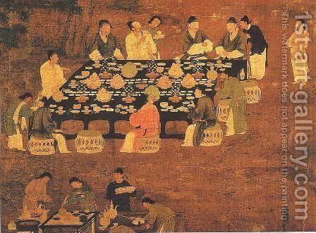 An Elegant Party (detail) by Huizong Emperor - Reproduction Oil Painting